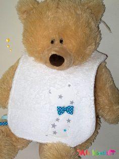 Bavoir Chat étoiles blanc, bleu et gris : Mode Bébé par mllekameleon