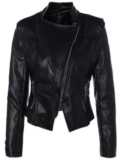 SHARE & Get it FREE | Inclined Zipper PU Leather Biker JacketFor Fashion Lovers only:80,000+ Items • New Arrivals Daily Join Zaful: Get YOUR $50 NOW!