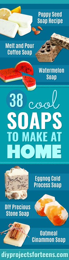 Cool Soaps To Make At Home - Grapefruit Mint Poppyseed Bars - DIY Soap Recipes and Ideas - Best Soap Tutorials for Soap Making Without Lye - Easy Cold Process Melt and Pour Tips for Beginners - Crockpot, Essential Oils, Homemade Natural Soaps and Products Crafts For Kids To Make, Fun Crafts, Creative Crafts, Nature Crafts, Kids Diy, Decor Crafts, Wood Crafts, Diy For Teens, Crafts For Teens