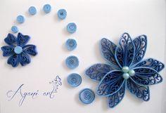 Quilled blue flower