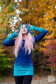 Hand Dyed Ombre Turquoise and Blue Long Hoodie by OmBeautiful