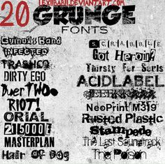 """20-Grunge-Fonts.jpg STYLE: Grunge   LIKE: Another cluster to choose from depending on your project's needs. """"Got Heroin?"""" is my top choice as it's a take on a classic """"ransom note"""" and would work very well for a certain project's needs in a short copy context  WHY WORK?: Distressed and rough and conveys rebellion"""