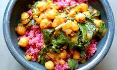 Cumin-Scented Quinoa & Beets With Curried Chickpeas....vegan. if you leave out the yogurt topping or substitute.