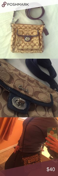 """Coach satchel Brown and blue with silver detail, lightly used with slight pilling on the strap, 7"""" x 8"""" Coach Bags Satchels"""