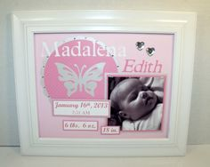 Personalized Baby Girl Nursery Art - Butterfly Picture Frame - Birth Announcement - Deluxe 8x10 Frame Included - Any Colors - Any Theme on Etsy, $45.00