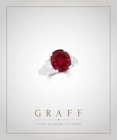 Graff Diamonds: 5.22 carat Cushion Cut Ruby Ring