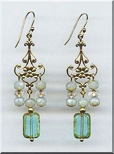 Opaline Picasso with Turquoise Glass Beaded Chandelier Earrings