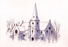 St James's church on The Green at Seacroft in Leeds - sketch - John Edwards