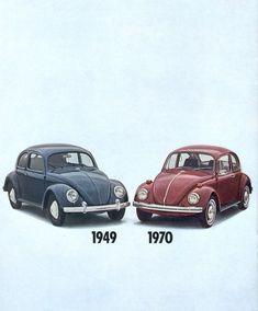 VW Volkswagen Beetle 1949 Vs 1970 - www.MadMenArt.com | Vintage Cars…