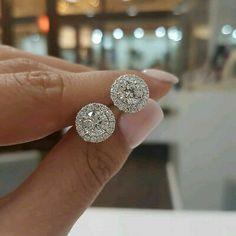 Stud Earrings 4ct Carat Cushion Cut Diamond VVS1 Fancy Pink Halo Pave Accents