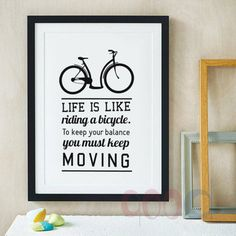 Inspiration Quote And Bicycle Canvas Art Print, Wall Pictures for Child Room Decoration, Painting Poster Frame not include FA199