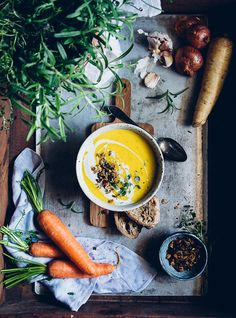 Rosemary Roasted Carrot Soup w Tamari Nuts & Seeds | Cashew Kitchen