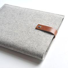 Ipad Sleeve - Wool Felt and Leather. $48.00, via Etsy.