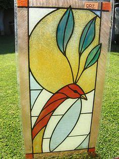 Vintage painted glass window panel  Bird set of 2