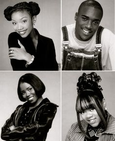 Moesha cast (January 1996 to May Brandy Norwood's Moesha, Lamont Bentley's Hakeem, Shar Jackson's Niecy and Countess Vaughn's Kim 90s Hip Hop, Hip Hop And R&b, Hip Hop Fashion, 90s Fashion, School Fashion, Black Love Movies, Movie Black, Shar Jackson, Black Sitcoms