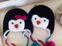Boy or Girl Penguin Hat Newborn to Child Sizes by mimimariedesigns