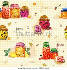 Seamless watercolor pattern with hand-drawing canned fruits and vegetables on vintage background of checkered fabric.