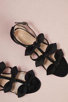 Anthropologie Bow T-Strap Heels