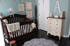I think I just love dark woods with light colours in babies rooms. #nursery