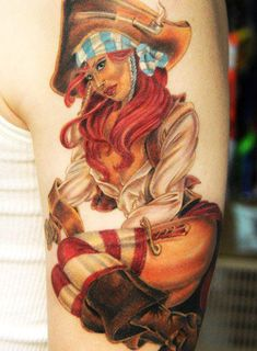 Red Hair Pirate Pin Up Girl Tattoo - Andy Engel #pirate http://pinupgirlstattoos.com/red-hair-pirate-pin-up-girl-tattoo/