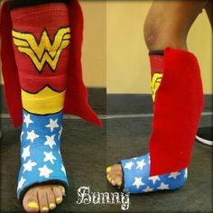 Wonder Woman cast design ( broken bones ) cast art Air Cast Boot, Walking Cast Boot, Walking Boots, Decorated Crutches, Broken Ankle Recovery, Arm Cast, Broken Foot, Cast Art, Legs