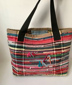 One of a Kind Tote Bag, Shabby Chic Rag Bag Tote, Extra Large Carryall, Rag Rug Tote by SleepyOwlFiberArts on Etsy Woven Bags, Rag Rugs, Diaper Bag, Totes, Shabby Chic, Weaving, Tote Bag, Trending Outfits, Unique Jewelry