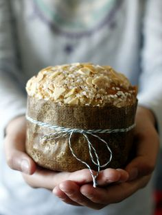 For Grandma. Mini Panettone...rich, buttery egg bread of the brioche mixed with the dried fruits of a fruitcake. Lovely gift wrapped in kraft paper and twine