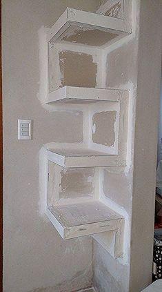 📣 35 Amazing Corner Shelves Ideas 016 - All About Home, Home Decor Shelves, Tv Wall Decor, Diy Home Decor, Bathroom Shelves, Interior Design Living Room, Living Room Designs, Living Room Decor, Drywall, Tv Wall Design
