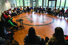 Participants in the Elder Tom Crane Bear Room (Cultural space on campus where some of the Summit will be held). Photo courtesy The Banff Centre. Banff Centre, Lineage, Call To Action, Crane, The Past, Culture, Bear, History, Room