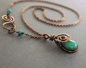 Swirly drop copper pendant necklace with wrapped turquoise Picasso finish Czech glass briolette with decorative hook clasp