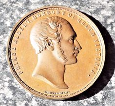 Antique 1861 Victorian Prince Albert Consort  Death Medallion / Medal