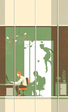 Illustration by Tom Haugomat I like the shadow of Peter Pan. It is nice to have the shadows in free because we can quickly think about peter pan. Art And Illustration, Creative Illustration, Illustrations Posters, American Illustration, Animal Illustrations, Tom Haugomat, Ode An Die Freude, Inspiration Art, Animation