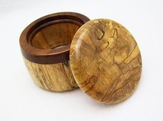 "2 1/2"" x 2"" Wood Ring Box Spalted Maple Wood Trinket Box by TheArtistTerand, $35.00"
