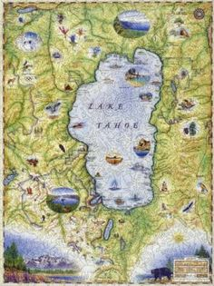 Lake Tahoe Map Lake Tahoe Map, Map Puzzle, Wooden Jigsaw Puzzles, Vintage World Maps, Cards