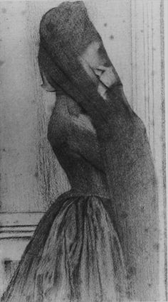 Fernand Khnopff (Belgian Symbolist Painter/Sculptor/Designer, The Veil, Charcoal and graphite with stumping on ivory wove paper, laid down on wood pulp board, 40 × 21 cm. Rose Croix, Boy Drawing, Dark Thoughts, Macabre, Art Drawings, Sketches, Fine Art, Prints, Image
