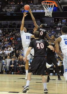 Skylar Spencer blocks another one ! Photi by Ernie Anderson.