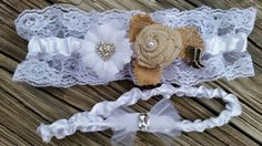 "Wedding garter belt set / berlap and lace garter set - Country western garter set with a blue bow hidden on the inside of the keep garter for the "" something blue "" tradition.  JessWeddings.org"