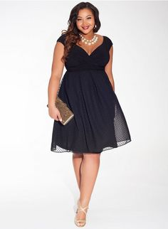 Adelle Plus Size Dress in Noir Dot #PlusSize #LBD Shop www.curvaliciousclothes.com