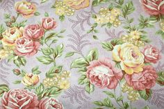 Classic: Cotton Fabric - Classic Cottons - Shabby Mauve Floral Print - 1 yard  OOP. $6.50, via Etsy.