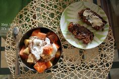Homemade manna served for breakfast with goat butter and coconut butter... a side of fresh papaya and goat's milk yogurt