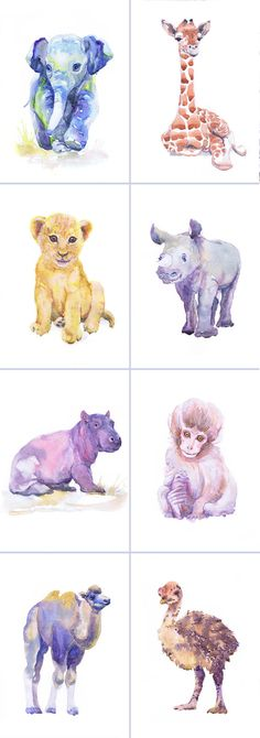 Artist Trading Cards, Set of 9 Signed Art Prints Watercolor Painting ACEO Jungle Safari Baby Animals ATC Giclee Collectible Card Watercolour  Set of 9