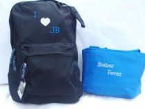 Justin Bieber Backpack & Matching Insulated Lunch bag / box Black Blue Silver