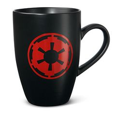 "ThinkGeek: $10 ""Star Wars Imperial Logo Mug"" ""Because you can't crush rebel scum on decaf"" 12 oz. ceramic, micro wave and dishwasher safe. Large soy mocha, double midi-chlorian and no whip."