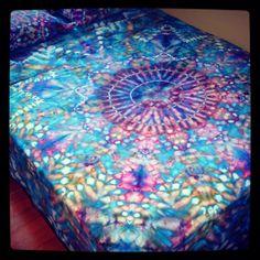 Organic Hand Dyed Queen Sheet Set  Water Mandala by wildflowerdyes.com, $148.00