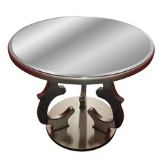 Gold/bronze round beveled mirror side table for sale. This table was new stock that came from the warehouse of a closing luxury furniture company. It was taken from the box and assembled.    I have more than one available and some may have small blemishes from being stored. There is also a matching pub table also listed for sale if interested. Please contact support@chairish.com if interested in purchasing more than one side table or purchasing as a set.