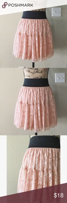 Blush Pink Lace Skirt Blush pink floral lace • Super soft, not stiff at all • Wide elastic waist band for comfort • Fully lined • layers of lace helps keep skirt full like a tule skirt • Junior's size Large • Fits a Woman's size Medium thanks to the stretch • Live out your ballet dreams, or pair with a leather jacket for a mixed texture look Skirts Mini