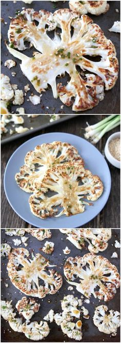 Cauliflower Steaks with Ginger-Soy Sauce ontwopeasandtheirpo…Love this healthy and easy recipe! Vegetable Recipes, Vegetarian Recipes, Healthy Recipes, Cauliflower Steaks, Grilled Cauliflower, Cauliflower Recipes, Whole Food Recipes, Cooking Recipes, Healthy Snacks