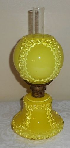 HTF C1890s Yellow Cased Glass Paneled Scroll Miniature GWTW Oil Lamp Night Light