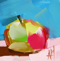 New Apple no. 3 original still life oil painting by Angela Moulton