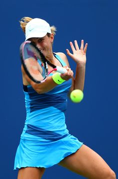 Petra Martic of Croatia plays a forehand during the women's singles first round match against Samantha Stosur of Australia during Day One of the 2012 US Open.